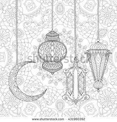 Ramadan Kareem greeting design coloring page. Engraved vector illustration…