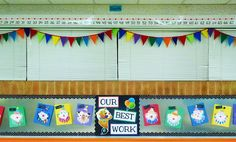 i was going to sew curtains for the 6 windows in my classroom.... but i'm loving this pennant banner! cut felt and sew together- easier AND cheaper!