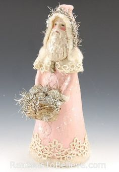 Santa in vintage pastel pink with silver and lace