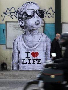 """""""I <3 Life"""" Street Art #graffiti    http://theberry.com/2012/07/31/morning-coffee-39-photos-228/?obref=obinsite#"""