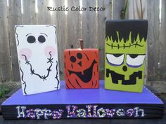 Halloween Block sign set, shelf sitter, Home accent, Frankenstein, Pumpkin, Ghost, Rustic, colorful, wooden, seasonal