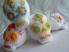 Embroidered Sugar Skulls by Alicia Traveria