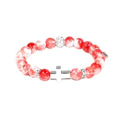Sacred Heart - Red Persian Jade Cross Charm Bracelet - Focus|Meditation|Peace