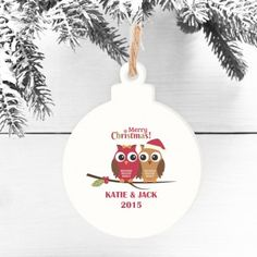 Personalised Wooden Bauble - Christmas Owls