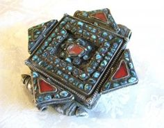 Antique Tibetan Prayer Box-Gau, 19th, woman's silver Lhasa Stile inset with turquoise and glass ...