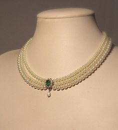 Bridal Necklace Emerald Green Stone Vintage Bridal Pearls Necklace Statement Choker Pearl Wedding Ch
