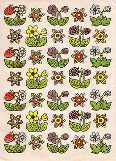 Wrapping paper designed by Josef Lada Pattern Drawing, Drawings, Flower Art, Graphic Illustration, Contemporary Decorative Art, Print Patterns, Doodle Drawings, Prints, Textures Patterns