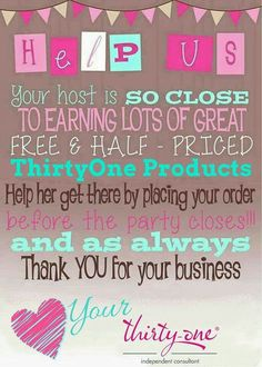 Thirty One Hostess Thirty One Party Thirty One Logo, Thirty One Hostess, Thirty One Games, Thirty One Party, Thirty One Business, Hostess Gifts, Thirty One Outlet, Thirty One Facebook, Farmasi Cosmetics