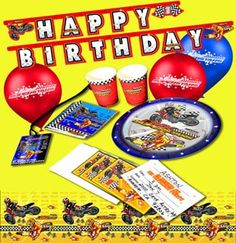 "Give your little moto enthusiast and their guests ALL ACCESS passes to the best birthday party ever with our MX Superstars 52-Piece Birthday Party Pack! Includes 8 9"" Plates, 8 9oz. cups, 8 Invitations (with Envelopes), 10 Pit Party Passes, 10 Napkins, 6 12"" Balloons (3 Red/3 Blue), 1 Table Cover (54"" x 96""), and 1 Happy Birthday Letter Sign! Just $39.95 http://www.smoothindustries.com/detail.asp?PRODUCT_ID=1730-200"