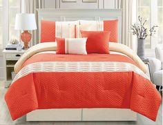 tahari home 6 piece comforter set 300 thread count yellow | 11 Piece Chevron Quilted Pleat Orange/Ivory Bed in a Bag Set Queen
