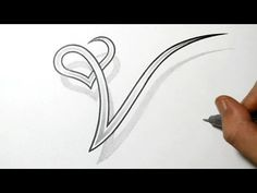 Drawing the Letter V with a Heart Design - YouTube