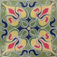 Blue/Yellow Deco Tile -- DJ Designs needlepoint