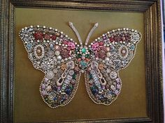 Vintage Jewelry Crafts Heirloom Jewelry Butterfly Picture made by my Grandmother for my Mother. Costume Jewelry Crafts, Vintage Jewelry Crafts, Recycled Jewelry, Vintage Costume Jewelry, Jewelry Frames, Jewelry Tree, Glass Jewelry, Seashell Jewelry, Plastic Jewelry
