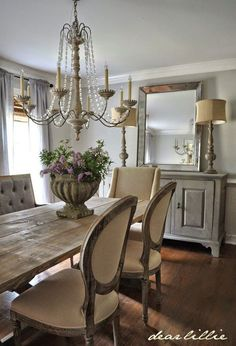 Lasting french country dining room furniture & decor ideas French Country Dining Room, French Country House, French Country Decorating, Country Living, Country Kitchen, Country Stil, French Country Chandelier, Country Bathrooms, Rustic French