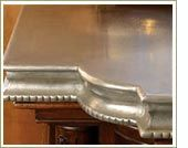 Pewter countertop for a bar area. Don't think I could afford a kitchen island.  Beautiful.