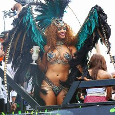 Rihanna gets into the Kadooment Day spirit in Barbados on Monday.
