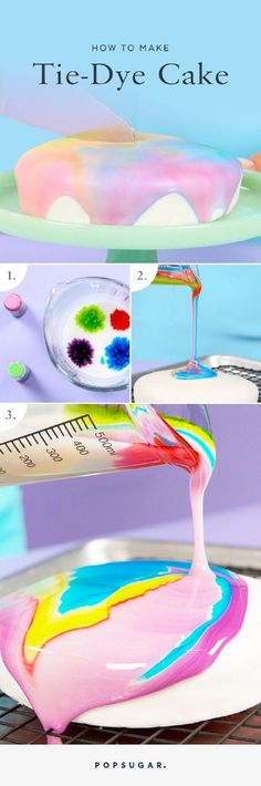Hypnotic Tie-Dye Cake - 15 Spring-Inspired Cake Decorating Tips and Tutorials (frosting for cookies tutorials)