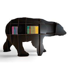 Ibride Bear Bookcase Junior – black designer bear cub bookshelf