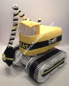 CAT construction Excavator Diaper Cake, Unique baby shower gifts, new daddy gift ideas #BabyFavorsAndGifts #diaperCakes #GiftIdeas #BabyShowerGiftIdeas #newparentgiftideas #newdaddygiftideas