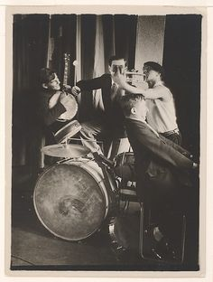 Bauhaus Band: Xanti Schawinsky on Trumpet with Three Musicians on Piano, Banjo and Drums