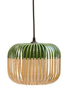 Bamboo Light XS Pendant - H 20 x Ø 27 cm Green / Natural by Forestier