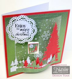 Crafter's Companion Classique Christmas Collection Scenic Pines Die Seasonal Tree Die Die`sire Chantilly lace  Die`sire Ivy  Core`dinations Papers Traditional Christmas  Hunkydory snowflake Acetate  Sentimentals - Happy Holidays