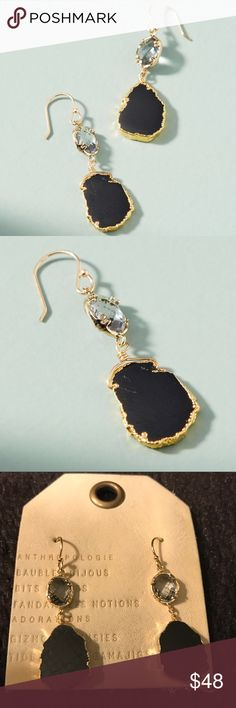 Reflection Drop Earrings NEW! The crystals sparkle, and the smooth labradorite stone just shines. Love these artistic earrings. The black color is rich. The gold edged detail is lovely. No trades or lowball offers please. Anthropologie Jewelry Earrings