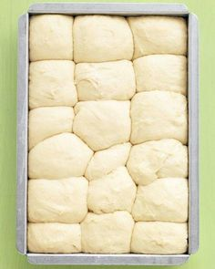 no-knead fluffy dinner rolls: the dough can be prepped, put in the pan, and chilled up to a day ahead