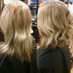 Lob, blond ,highlights
