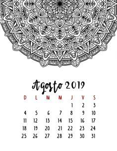 Calendario 2019 – Mama Inventiva College Hacks, Abstract Drawings, Monthly Planner, 30, Mandala, Bullet Journal, Printables, Scrapbook, Lettering