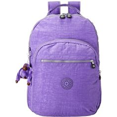 Kipling Seoul Backpack with Laptop Protection (French Lavender)... ($98) ❤ liked on Polyvore featuring bags, backpacks, padded laptop backpack, monkey backpack, laptop bags, day pack backpack and laptop backpack