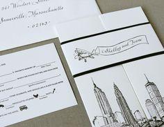 Albertine Press Boston Skyline invitation with mad lib reply card