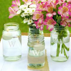 Personalized Mason Jar Vase Collection (Set of 4)