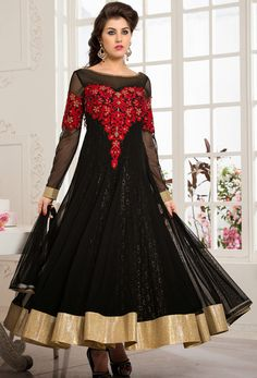 #Black #Net #Readymade #Anarkali Suit