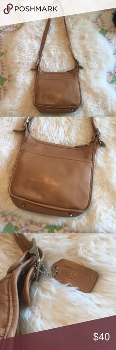 Vintage leather Coach crossbody bag Vintage coach tan leather Crossbody bag minor scuffing and wear hardly  noticeable when using. Measurements ar, height 9 inches, length is 11 inches and width is 3 inches Coach Bags Crossbody Bags
