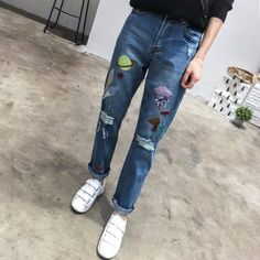 27.76$  Watch here - https://alitems.com/g/1e8d114494b01f4c715516525dc3e8/?i=5&ulp=https%3A%2F%2Fwww.aliexpress.com%2Fitem%2Fembroidery-slim-jeans-female-Autumn-winter-tapered-leg-casual-pants-capris-Pockets-boyfit-jeans-women-bottom%2F32770498982.html - embroidery slim jeans female Autumn winter tapered leg casual pants capris Pockets boyfit jeans women bottom
