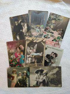 8 pieces antique tinted photo-postcards, Christmas, kids,couples, ladies, 1910s' #Christmas Photo Postcards, Vintage Postcards, Christmas Decorations, Polaroid Film, Couples, Antiques, Kids, Art, Vintage Travel Postcards