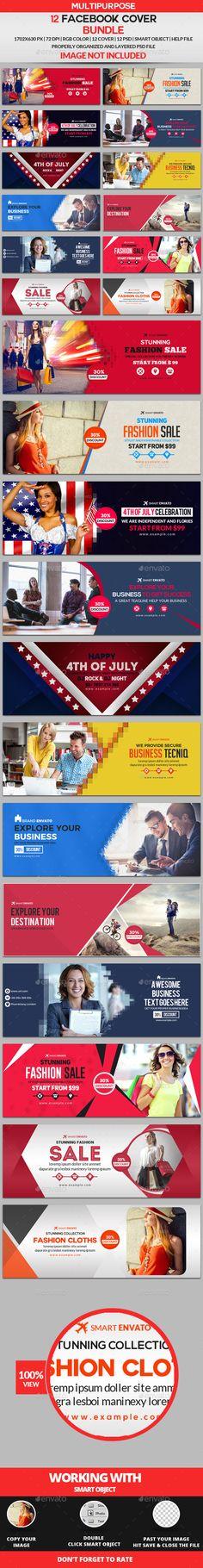 Facebook Cover Templates PSD Bundle - 12 Design