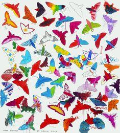 """""""Tutti uguali, tutti diversi"""" pennarello e tempera su tela cm 140x160; 2018 #andreamattiello #pievedartista #ombrenomadi #tuttiugualituttidiversi #17maggio2018 #stopomofobia"""