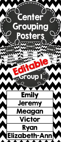 Center Grouping charts (editable)  Type n students name and print.  Or print without names and use a dry erase marker to write in the names