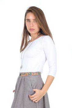 Basic Long Sleeves Tshirt Tee  Ankle-length gray/dark gray/brown Ofri skirt. Wide and relaxed cut, elastic waist. Diagonal stripes on upper and lower part.  Made of 100% polyester.