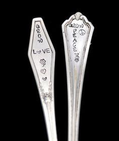 2 Stamped Silverware Garden Marker Spoon by TheSilverwearShop