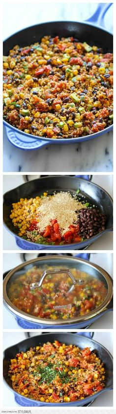 One Pan Mexican Quinoa - Wonderfully light, healthy and nutritious. And it's so easy to make - even the quinoa is cooked right in the pan! One pot Mexican quinoa Mexican Food Recipes, Whole Food Recipes, Vegetarian Recipes, Cooking Recipes, Healthy Recipes, Quinoa Recipes Lunch, Recipes Dinner, Heathy Lunch Ideas, Healthy Supper Ideas