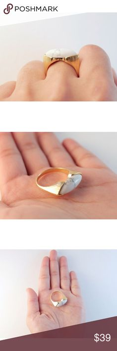 White Stone Statement Ring Gold Filled White Howlite Stone   Gold Filled   Statement Rings ZUMARI Jewelry Rings