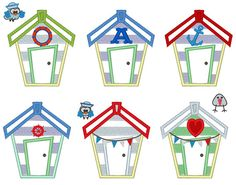 Beach Houses set - 6 little different types and birds small add ons -  machine embroidery applique designs