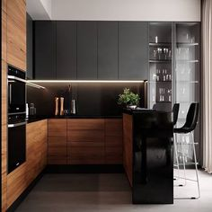 Modern interior House Design Trend for 2020 Loft Kitchen, Kitchen Room Design, Modern Kitchen Cabinets, Best Kitchen Designs, Kitchen Cabinet Design, Wooden Kitchen, Modern Kitchen Design, Interior Design Kitchen, Kitchen Decor