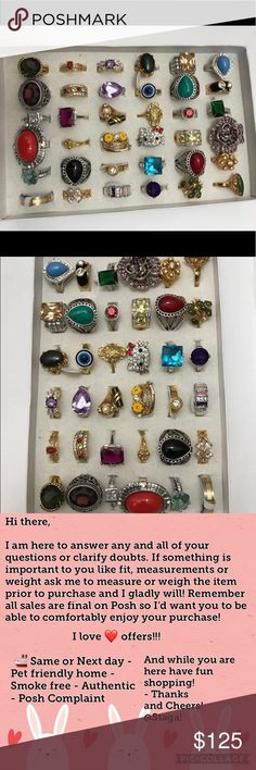 ⭐️ Resellers ⭐️ Stash 36 Rings This is a bundle of 36 rings - sterling silver, semi-precious stones, gold plated, gold filled, stamped, Fashion and Lia Sophia rings. Sizes are mixed and range from 6-10. Can't beat the price, 125$ whole box which comes to 3$ a ring. No offers, no shipping discounts. Don't miss it - sell, use or gift! Will come in self sealable pouches, box not included. Jewelry Rings