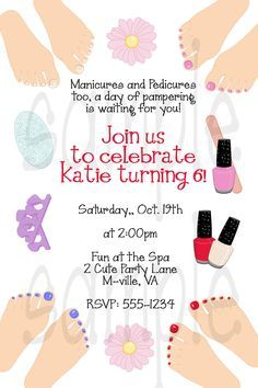 Manicure Party Invitations | Printable Spa Party Invitation Diy Invite Spa Manicure Pedicure