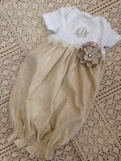 Vintage Inspired Shabby Chic Infant Onesie by AllieKatKreations
