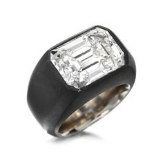 FD Gallery | A Rectangular-Cut Diamond and Iron Ring by Hemmerle